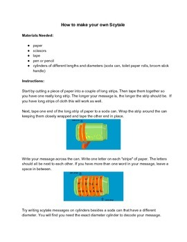 Math Problem Solving Activity The Scytale