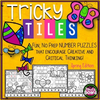 Math Problem Solving Bundle - Tricky Tile Activities for the ENTIRE School Year!
