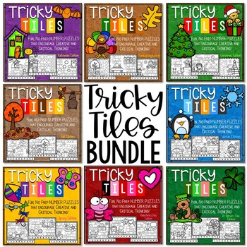 Math Problem Solving Bundle | Tricky Tile Activities for the ENTIRE School Year