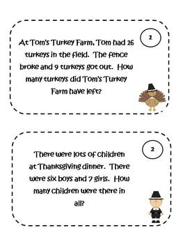 Math Problem Solving Cards - Thanksgiving Theme