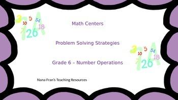 Math Problem Solving Center Activities for Grade 6
