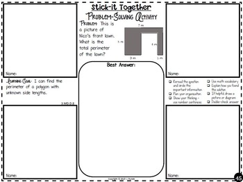 Math Problem-Solving Collaborative Activity for 3rd Grade Common Core