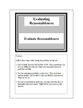Math Problem Solving-Evaluating Reasonableness 1