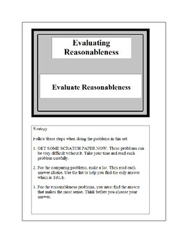 Math Problem Solving-Evaluating Reasonableness 3