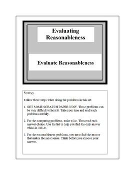 Math Problem Solving-Evaluating Reasonableness 4