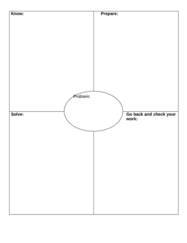 Math Problem Solving Graphic Organizer