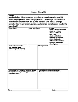 Math Problem Solving Mat