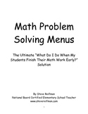 Math Problem Solving Menus