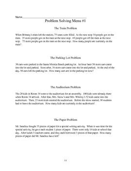 Math Problem Solving Menus