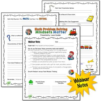 Math Problem Solving: Mindsets Matter Webinar Handouts (Free)
