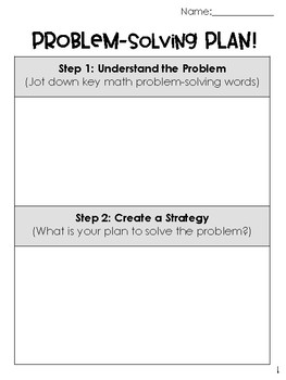 Math Problem Solving Planning Sheets