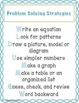 Math Problem Solving Poster Set - Turquoise & Green Borders