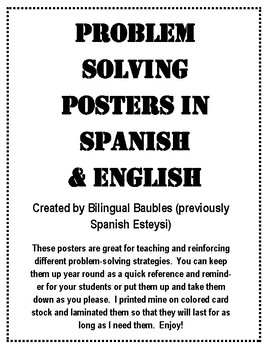 Math Problem Solving Posters in Spanish and English