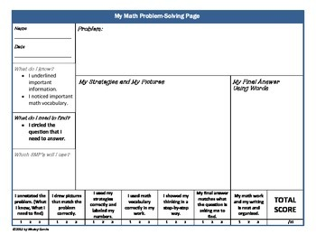 Math Problem Solving Processing Set With Rubric for Grades 2-3