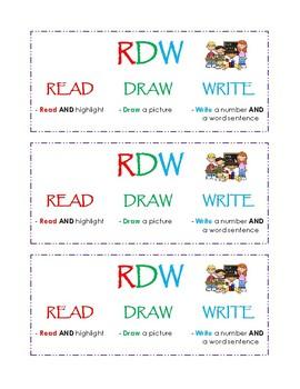 Math Problem Solving - Read, Draw, Write Note Sheet