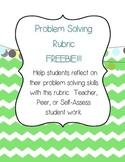 Math Problem Solving Rubric FREEBIE!