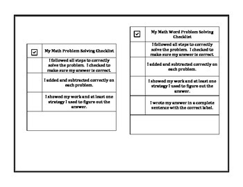 Math Problem Solving Rubric and Student Checklist (addition and subtraction)