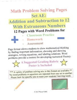 Math Problem Solving Set AE: Add and Subtract to 12 with Extraneous Numbers