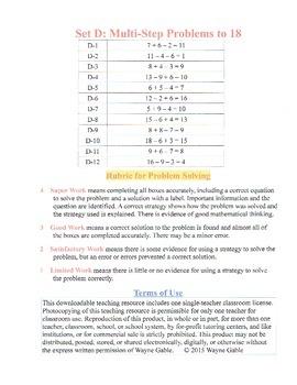 Math Problem Solving Set D: Multi-Step Problems to 18