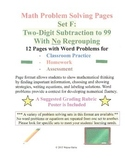 Math Problem Solving Set F: Two-Digit Subtraction to 99 No Regrouping