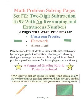Math Problem Solving Set FE: Two-Digit Subtract to 99 No R