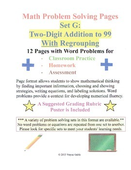 Math Problem Solving Set G: Two-Digit Addition to 99 With Regrouping