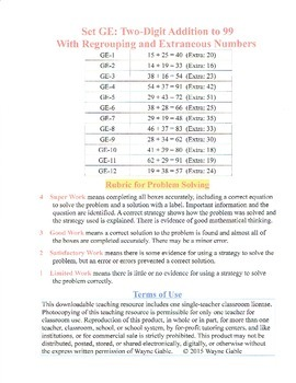 Math Problem Solving Set GE: Two-Digit Addi to 99 Regrouping Extra Numbers