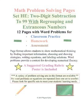 Math Problem Solving Set HE: Two-Digit Subtraction Regrouping Extra Numbers