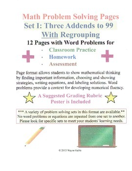 Math Problem Solving Set I: Three Addends to 99 With Regrouping