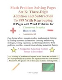 Math Problem Solving Set K: Three-Digit Addition Subtraction to 999 Regrouping