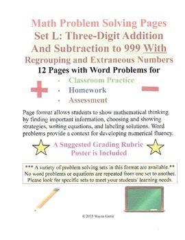 Math Problem Solving Set L: Three-Digit Addition Subtraction Regroup Extraneous