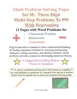 Math Problem Solving Set M: Three-Digit Multi-Step Problems to 999 Regrouping