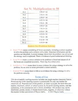 Math Problem Solving Set N: Multiplication to 50