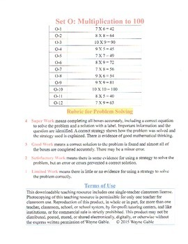 Math Problem Solving Set O: Multiplication to 100