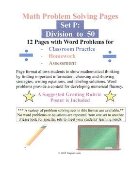 Math Problem Solving Set P: Division to 50