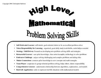 Math Problem Solving Skills Sheet - Exemplar Skills for Students