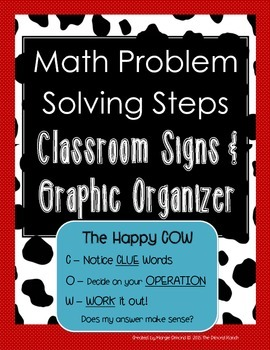 Math Problem Solving Steps *Classroom Signs and Graphic Or
