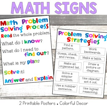 Math Problem Solving Steps Mini-poster and Problem Solving Strategies