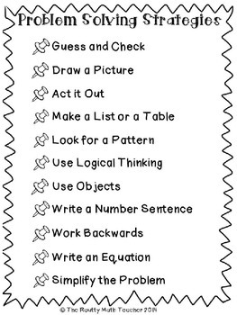 Math Problem Solving Strategies Pack