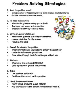 Math Problem Solving Strategies Chart