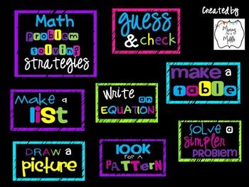 Math Problem Solving Strategies Poster Set (Subway Art)