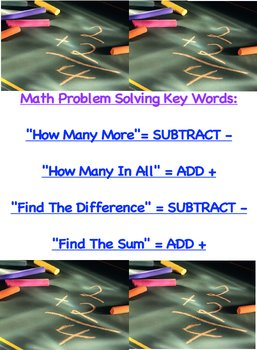 Math Problem Solving Strategy Chart Key Words How Many In All etc.