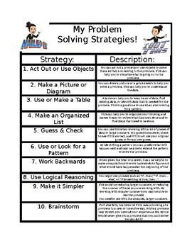 Math - Problem Solving Strategy Note Sheet