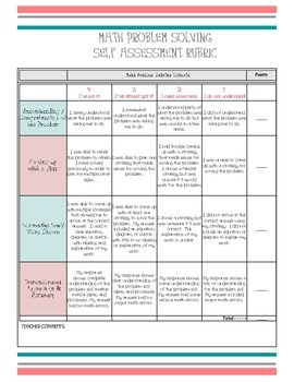 Math Problem Solving Student Self Assessment Rubric