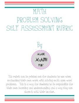 Math Problem Solving Student Self Assessment Rubric