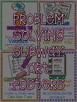 FREEBIE Math Problem Solving Subway Art Posters Grades 3-6 FREE