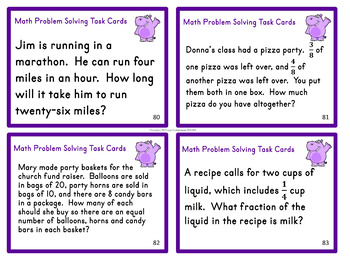 Problem Solving Task Cards and Quizzes