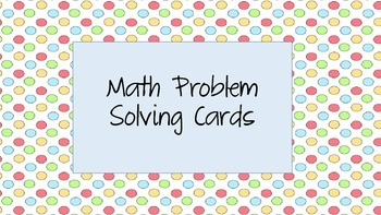 Math Problem Solving Task Cards
