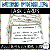 Math Word Problem Solving Task Cards - Addition and Subtraction