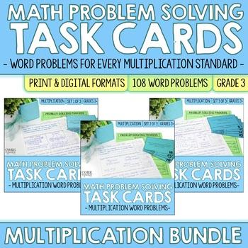 Math Problem Solving Task Cards BUNDLE: Multiplication Word Problems: Sets 1-3